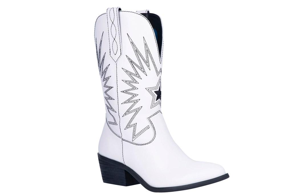 cowboy boots, white, green,