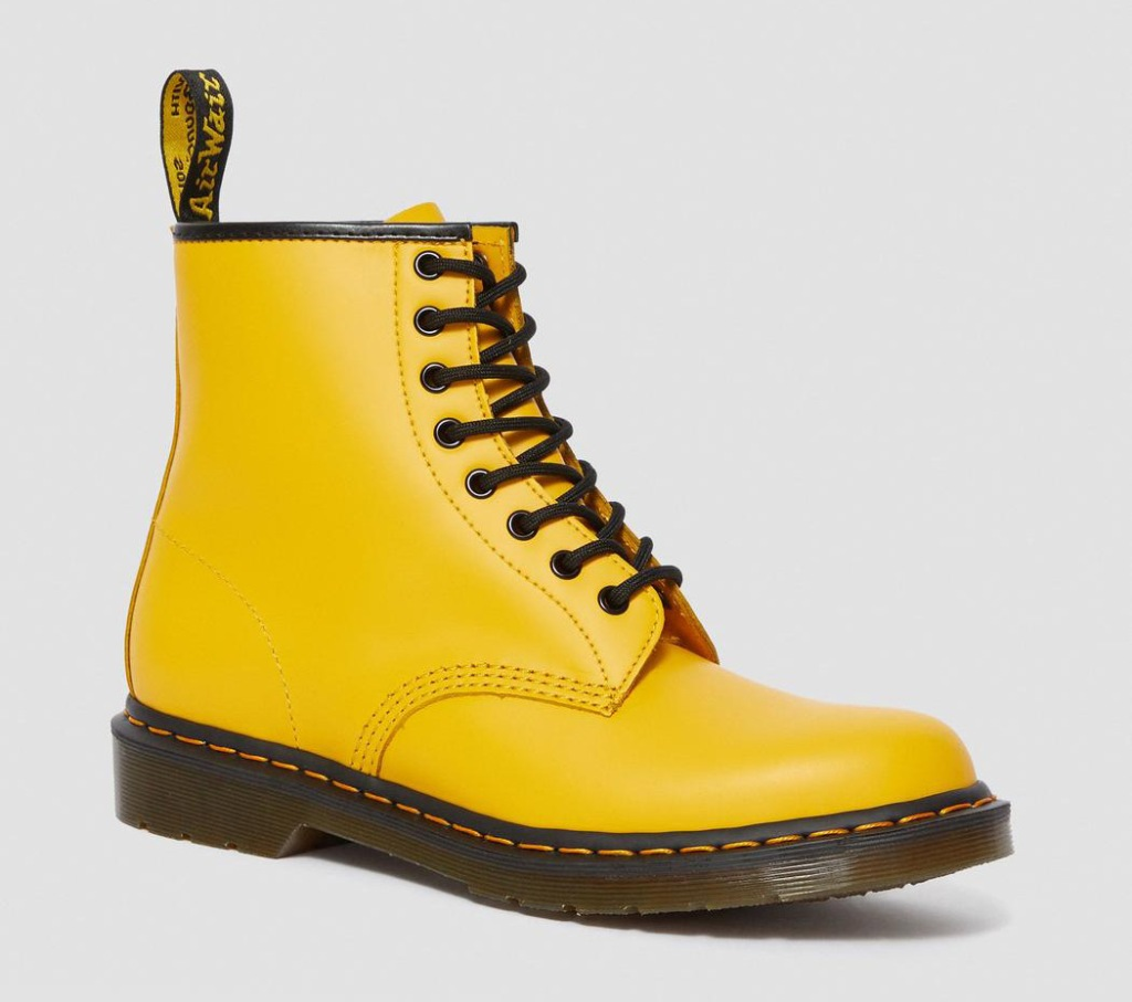 yellow boots, dr martens
