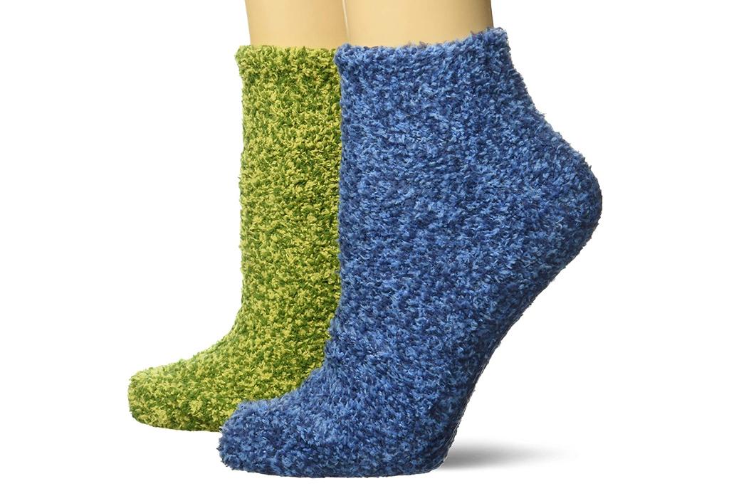 green socks, fuzzy