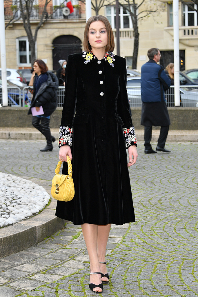 Arrivals at the Miu Miu show as part of the Paris Fashion Week Womenswear Fall/Winter 2020/2021. 03 Mar 2020 Pictured: Emma Corrin. Photo credit: KCS Presse / MEGA TheMegaAgency.com +1 888 505 6342 (Mega Agency TagID: MEGA624014_054.jpg) [Photo via Mega Agency]