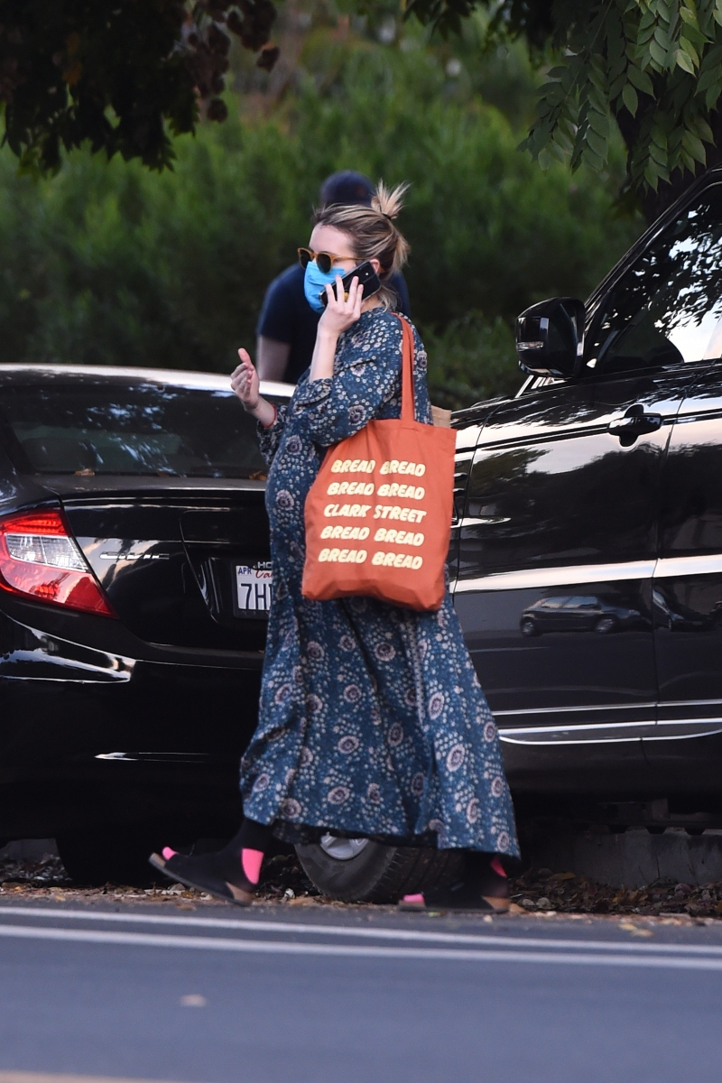 emma roberts, dress, floral, pregnant, baby bump, sandals, birkenstock, shoes, los angeles