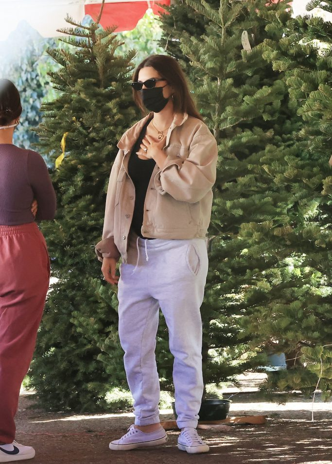 EXCLUSIVE: Pregnant Emily Ratajkowski and husband Sebastian Bear-McClard get in the holiday spirit as they go Christmas tree shopping in Los Angeles. The pregnant model put her growing baby bump on display as she enjoyed her Sunday morning with her husband, their dog and a friend. 06 Dec 2020 Pictured: Pregnant Emily Ratajkowski and Sebastian Bear-McClard go Christmas tree shopping. Photo credit: Rachpoot/MEGA TheMegaAgency.com +1 888 505 6342 (Mega Agency TagID: MEGA719618_015.jpg) [Photo via Mega Agency]