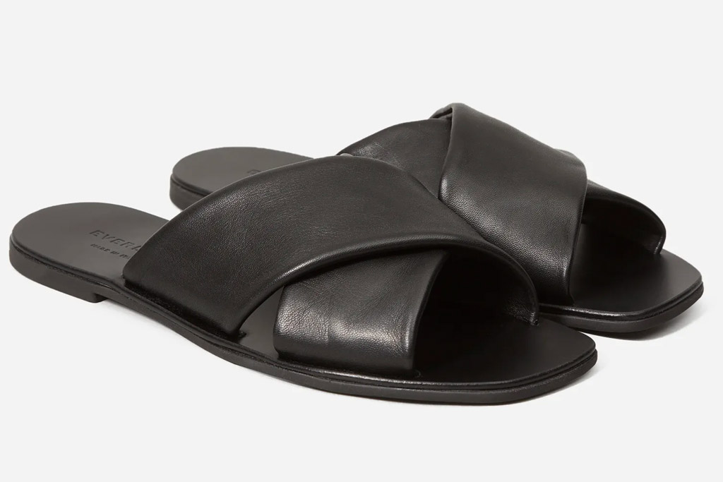 sandals, square toe, black, everlane