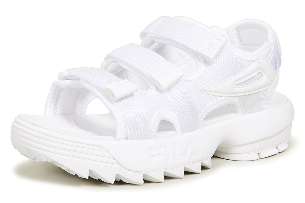 white sandals, velcro, chunky, fila