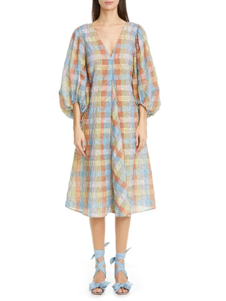 plaid dress, checkered dress, ganni