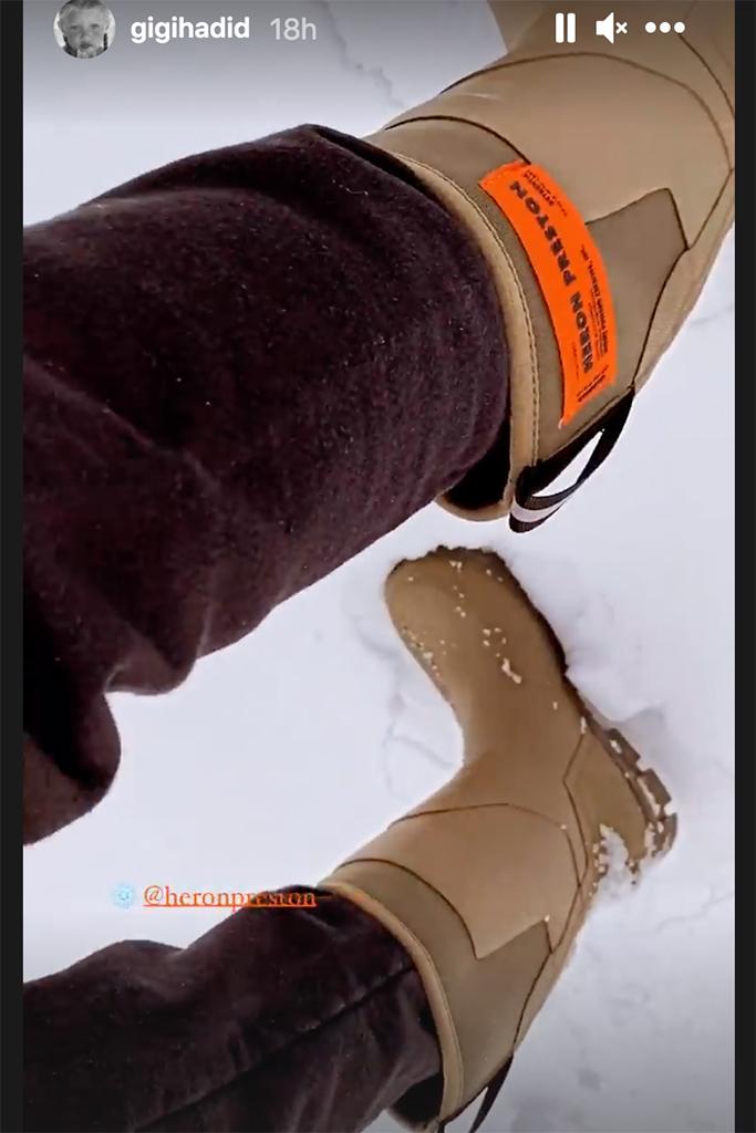 heron preston rainboots, gigi hadid snow boots, tan heron preston boots