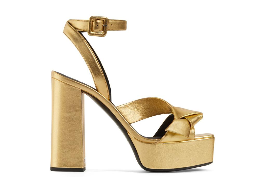 lalia gold platforms, giuseppe zanotti, kristen wiig snl shoes