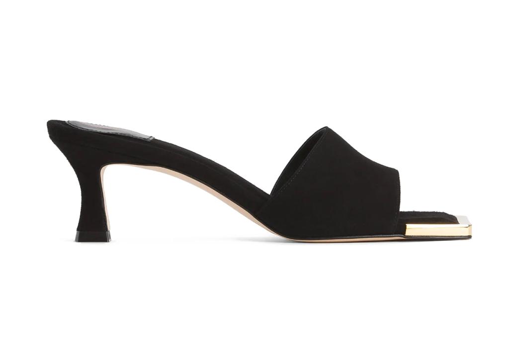 good american shoe, square toe heel, black heel
