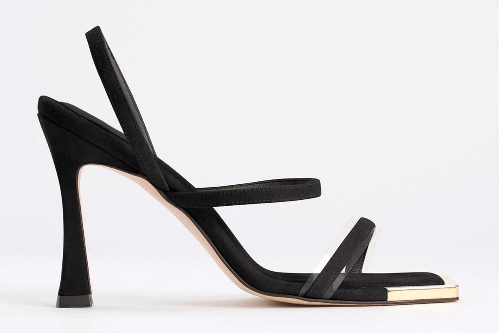 black, square-toe sandals, good american