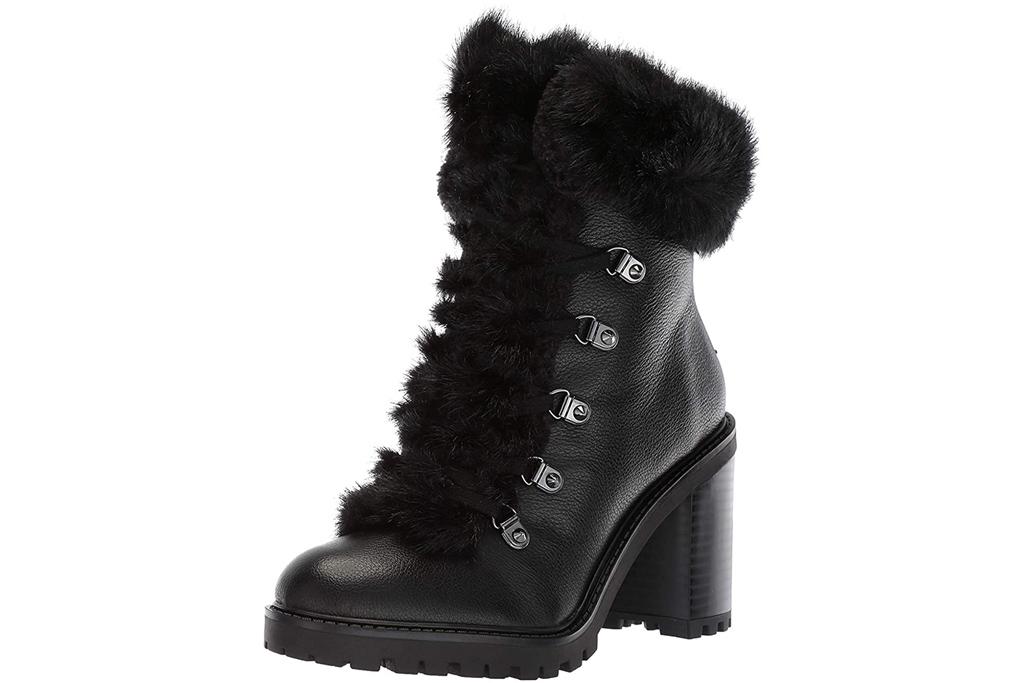 black boots, fur, guess