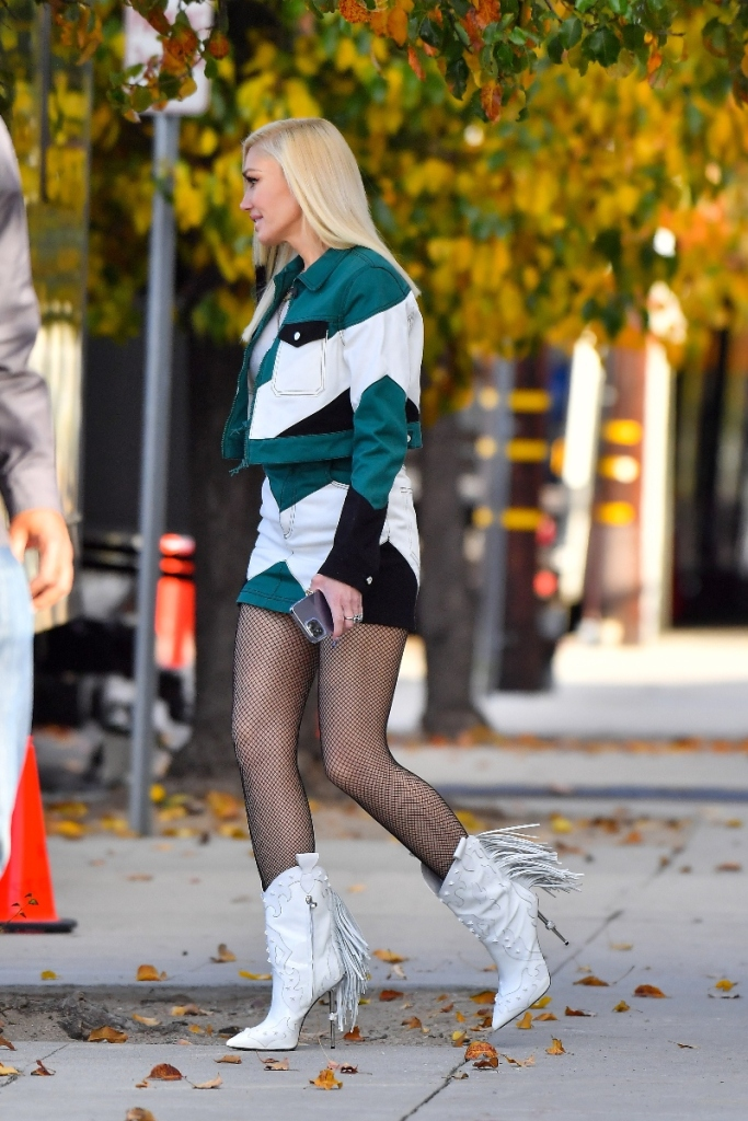 gwen stefani, skirt, jean skirt, jacket, boots, tights, cowboy boots, blake shelton, los angeles
