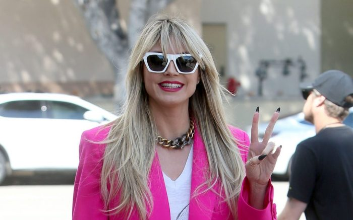 Hot Pink Heidi Klum Looks 80s Chic As She Arrives To Film 'America's Got Talent' In Pasadena, California