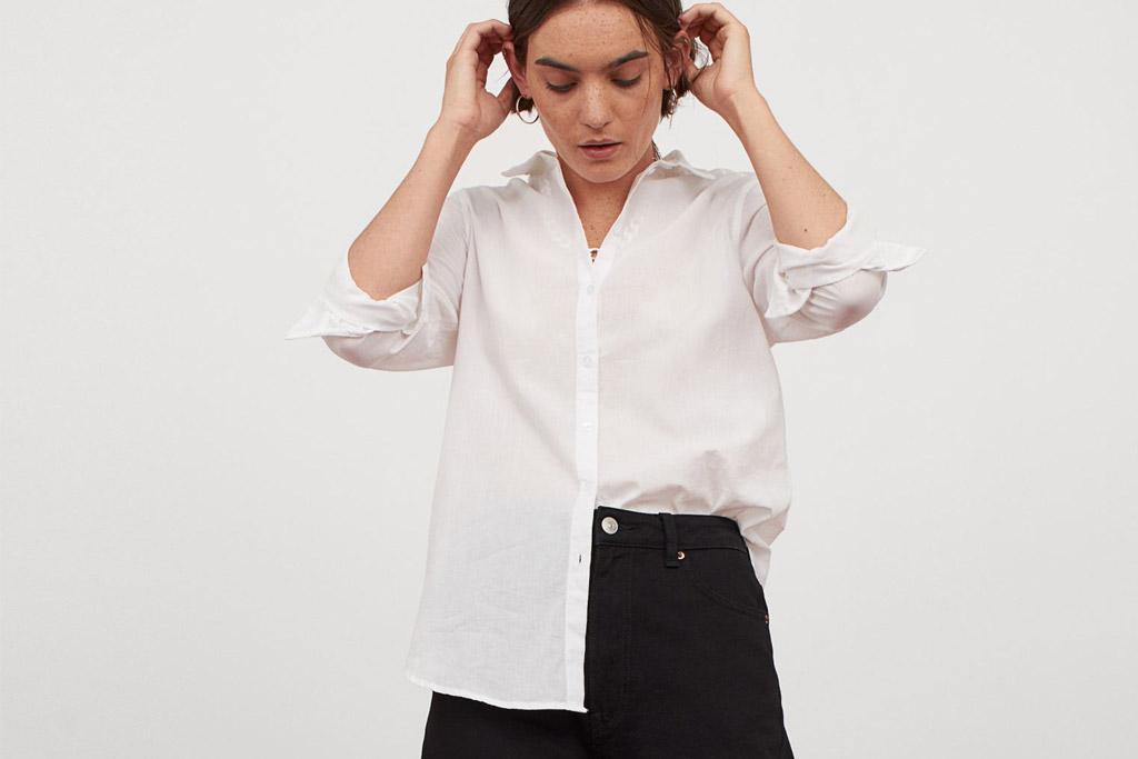 h&m, white, shirt, poplin