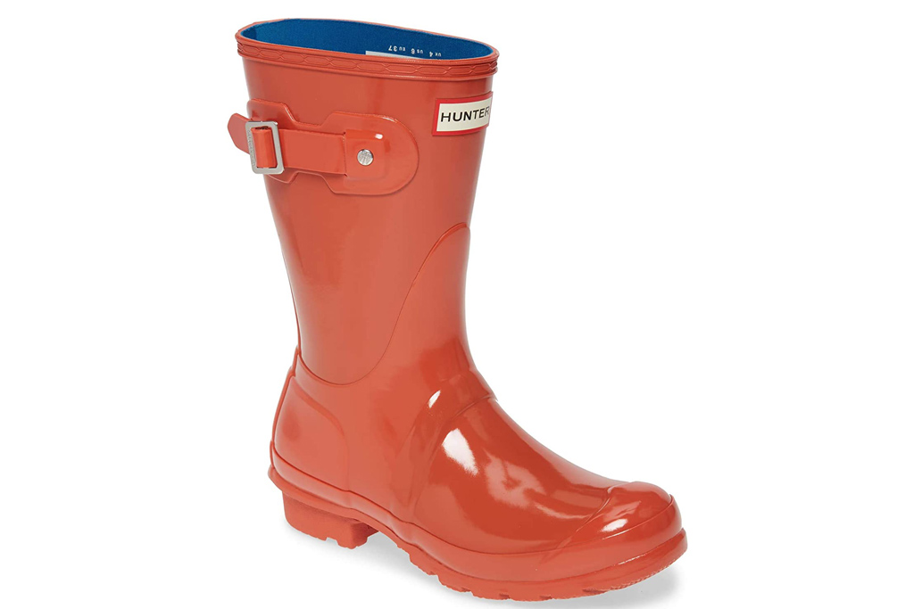 orange boots, red boots, rain boots