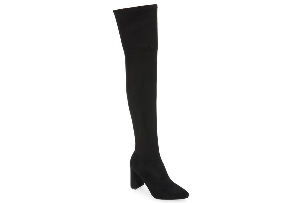 black boots, suede, over the knee, thigh high, jeffrey campbell