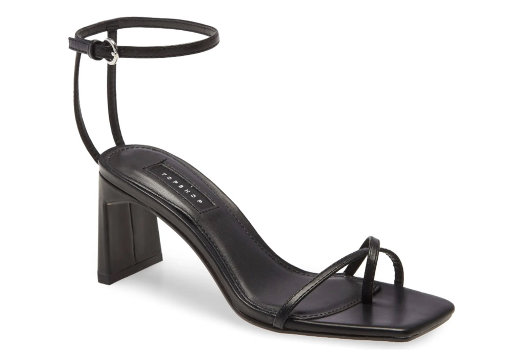 sandals, square toe, black, topshop