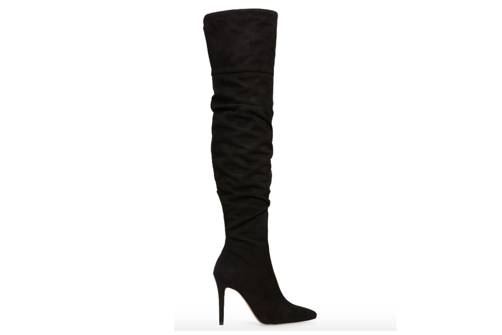 black boots, knee high, heeled, pointed toe, suede, jessica simpson