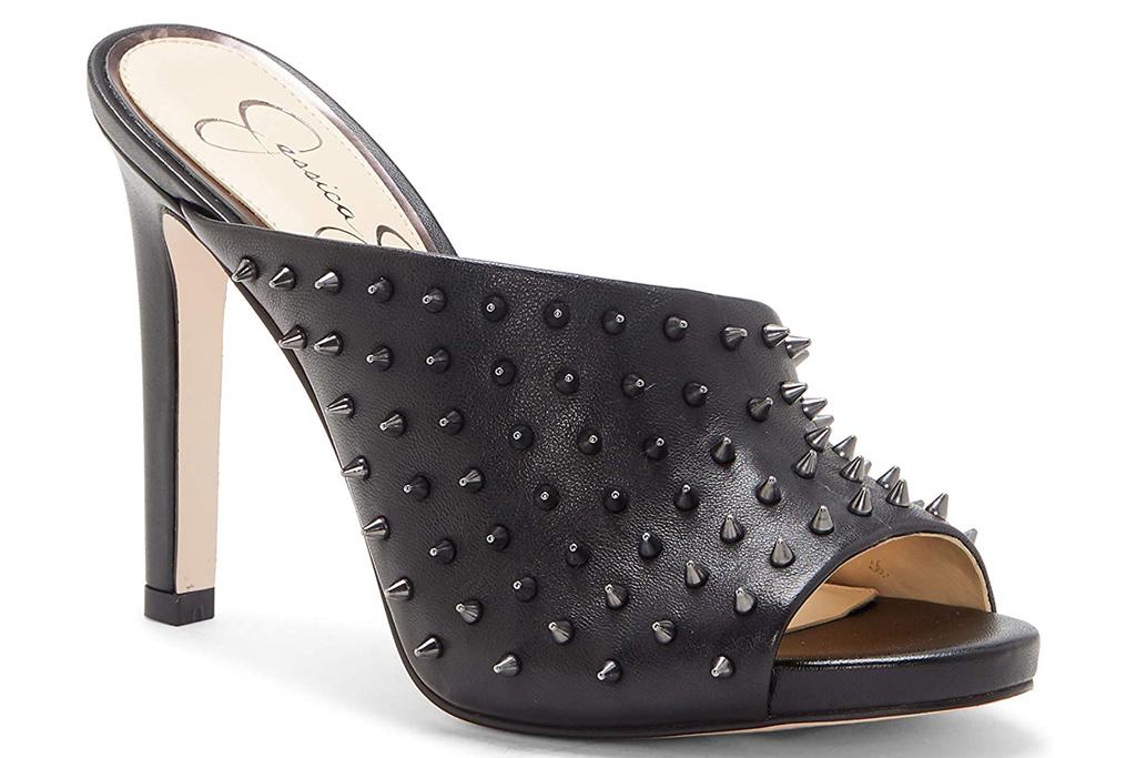 jessica simpson, mules, heels, studded
