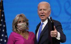 President-elect Joe Biden walks offstage with