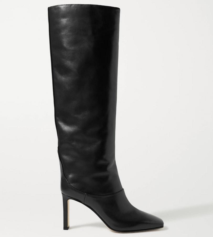 jimmy coo, mahesa, boots, knee-high, sqaure toe