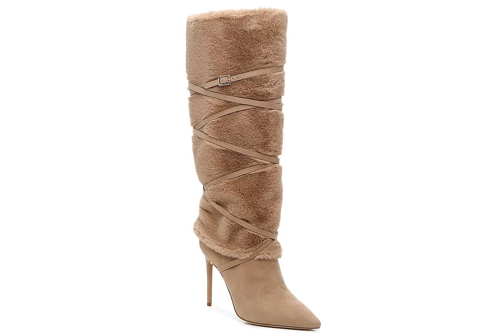dsw, jlo, jennifer lopez, boots, fuzzy