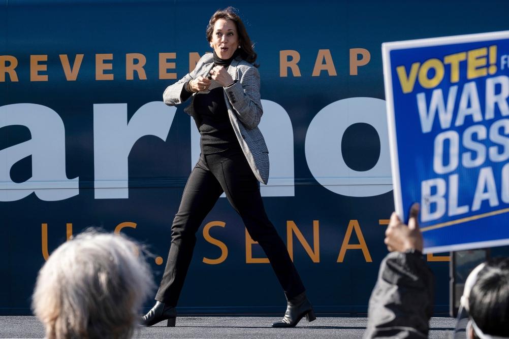 kamala harris, campaign, georgia, blazer, turtleneck, jeans, boots, election, ossoff, warnock