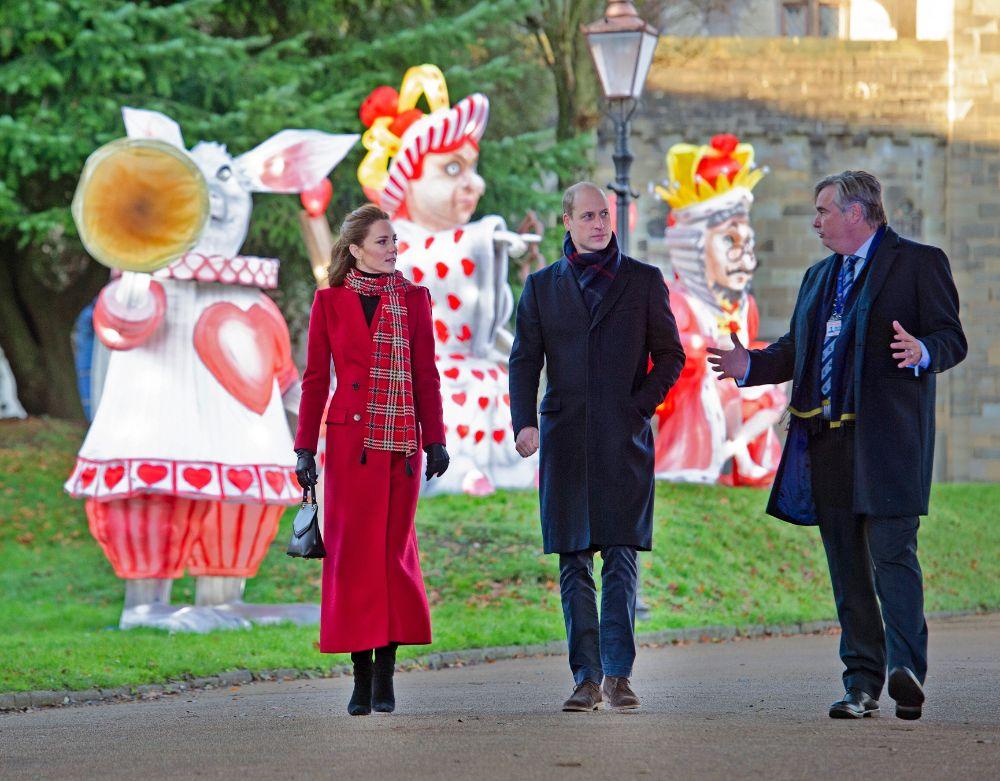 kate middleton, red coat, plaid scarf, dress, black boots, heels, purse, cardiff, uk, royal train tour, tour