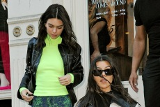 Kendall Jenner & Kourtney Kardashian Bundle Up in Leggings, Leather Pants & Ice Skates