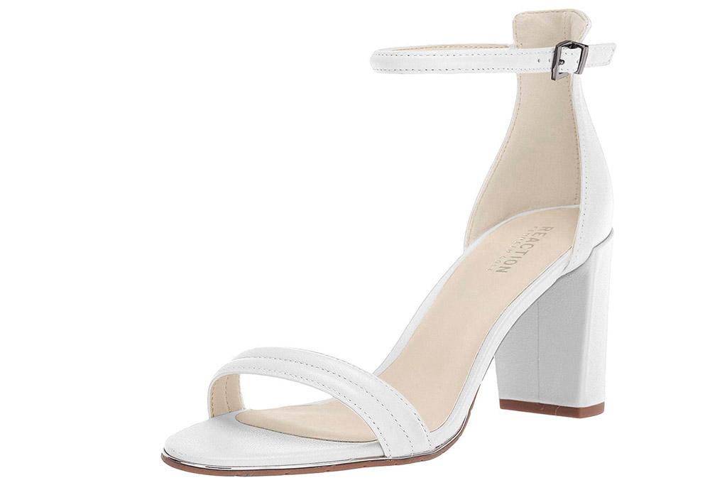 white sandals, heels, platform, kenneth cole