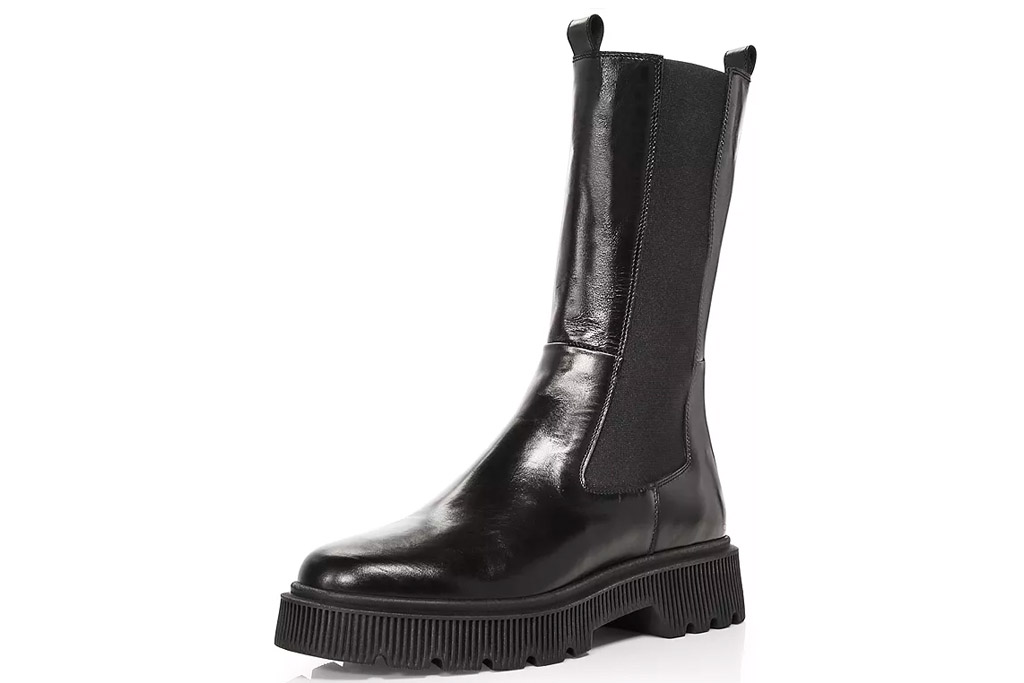 black boots, leather, chunky, kurt geiger london