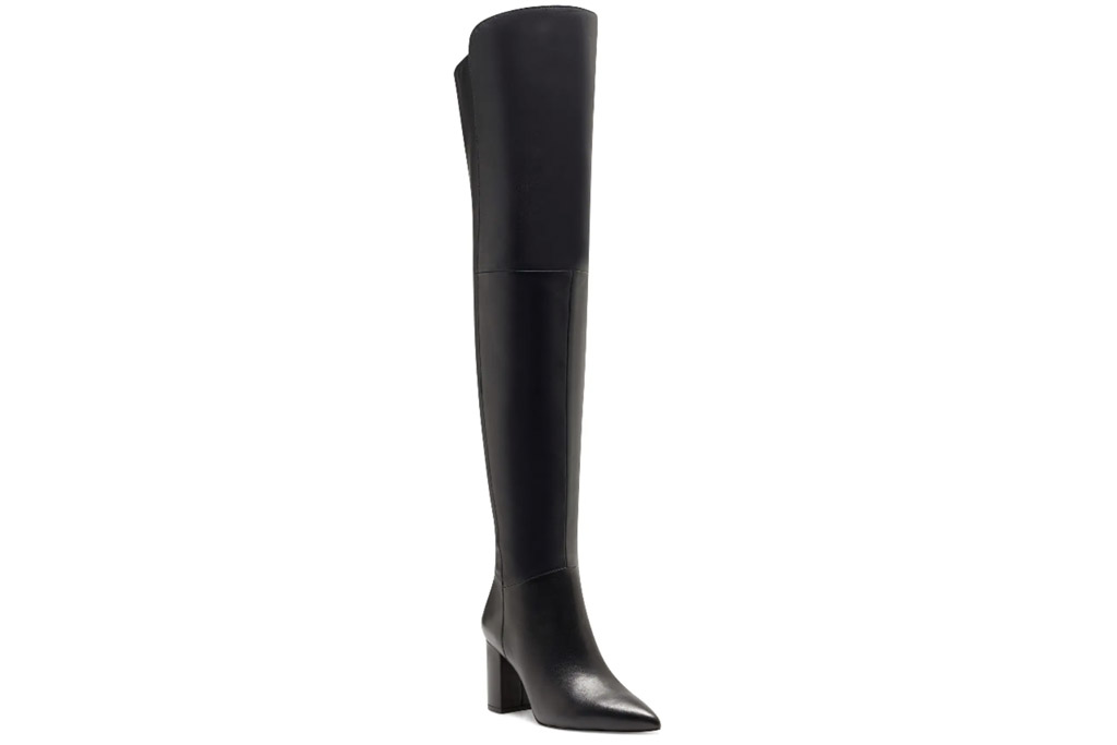 black boots, leather, knee high, over the knee, louise et cie