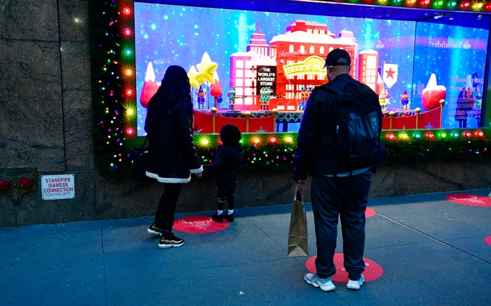 NEW YORK, NEW YORK - NOVEMBER 19: A view of the window display as Macy's Herald Square unveils Give, Love, Believe 2020 Holiday Windows on November 19, 2020 in New York City. (Photo by Eugene Gologursky/Getty Images for Macy's)
