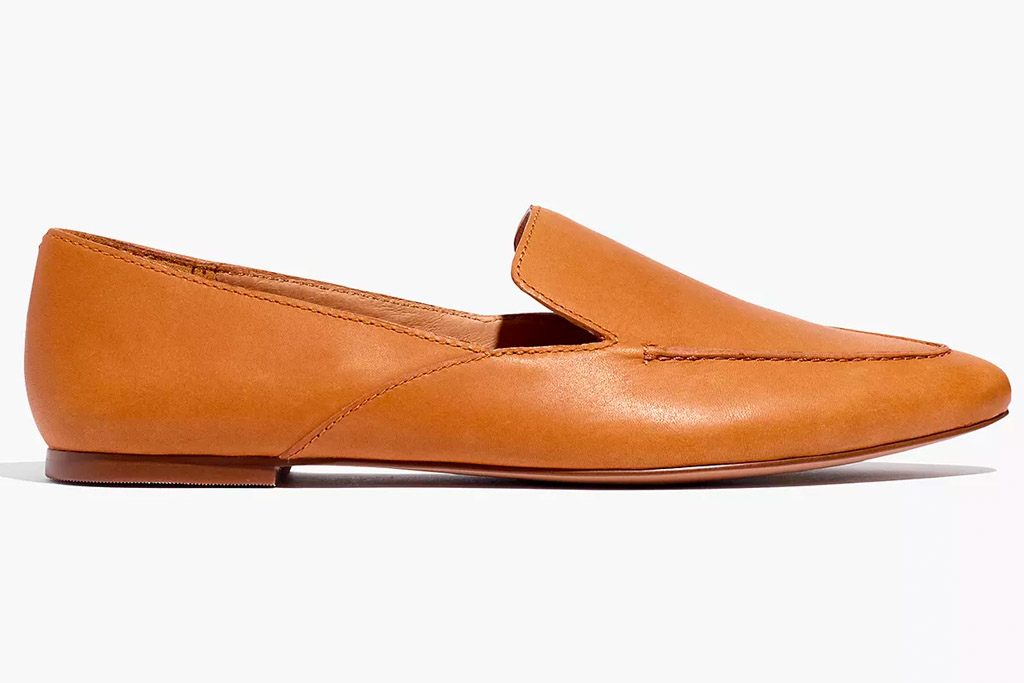 brown loafers, leather, madewell