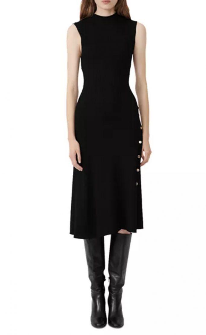 Maje Roxie Ribbed Midi Dress