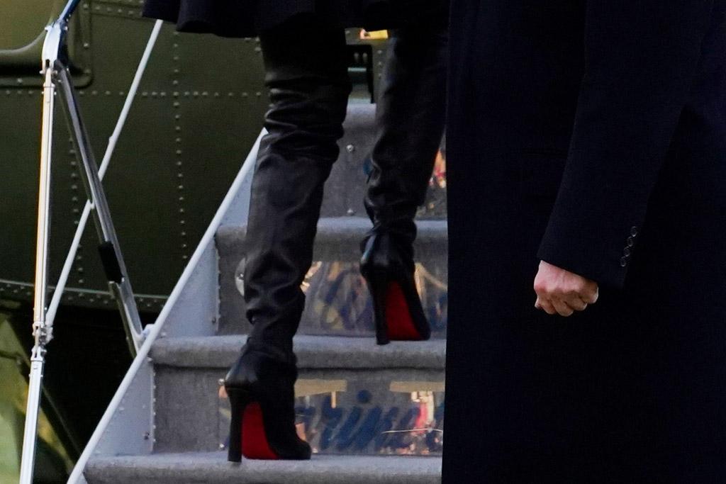melania trump, leather boots, boots, thigh high, louboutin, jacket, coat, black, christmas, mar-a-lago, florida, president, donald trump