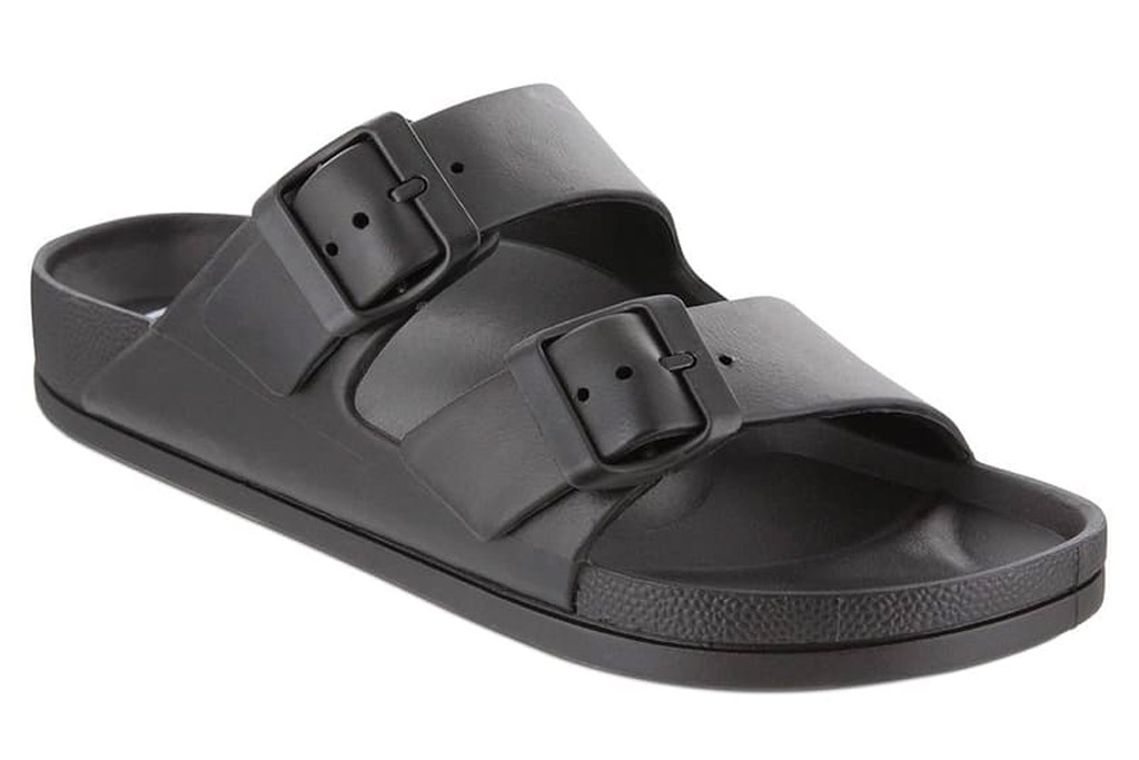 sandals, black, buckles, double strap, mia