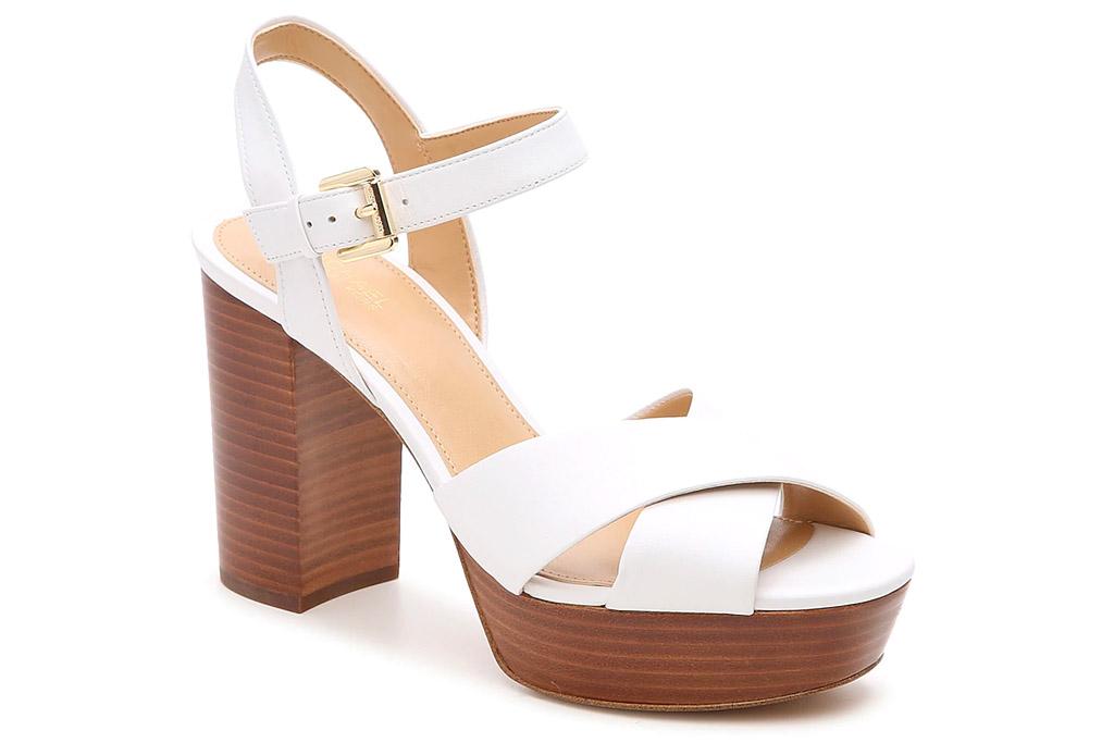 white sandals, heels, platform, michael kors
