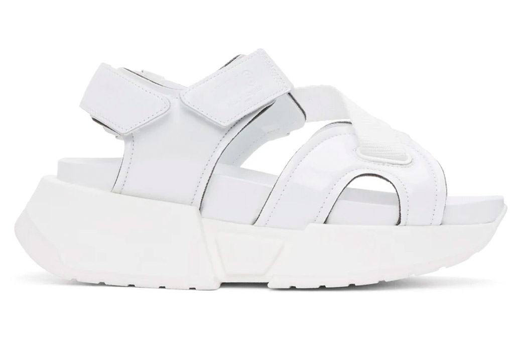 white sandals, velcro, chunky, mm6 maison margiela
