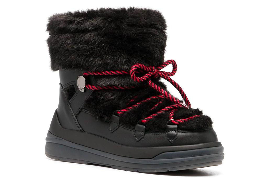 moncler, boots, faux fur, snow boots, black