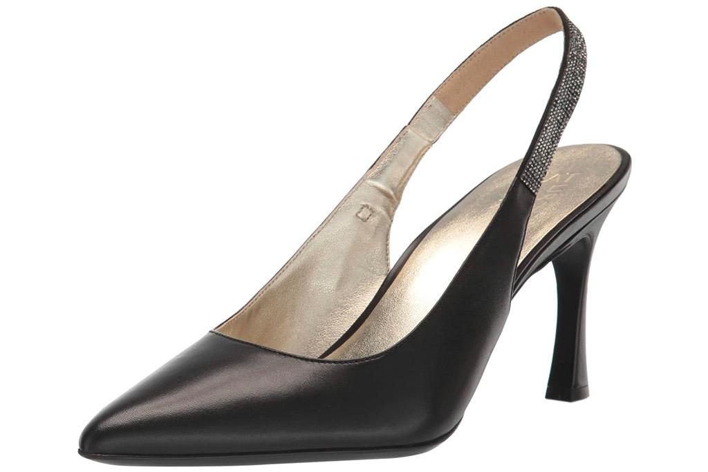 black heels, slingback, pumps, pointed toe, naturalizer