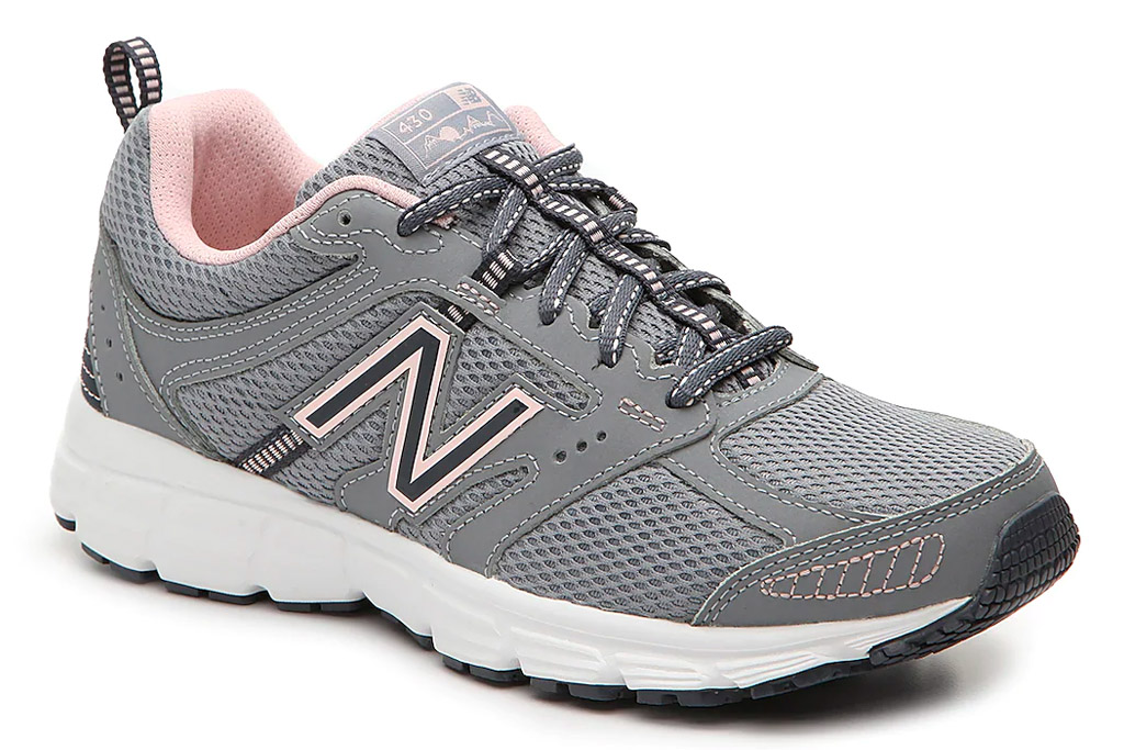 gray sneakers, pink, new balance