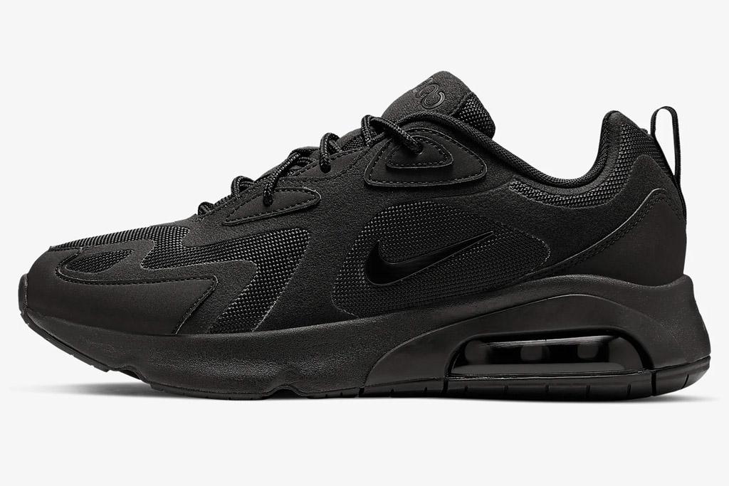 nike, sneakers, black, air max 200