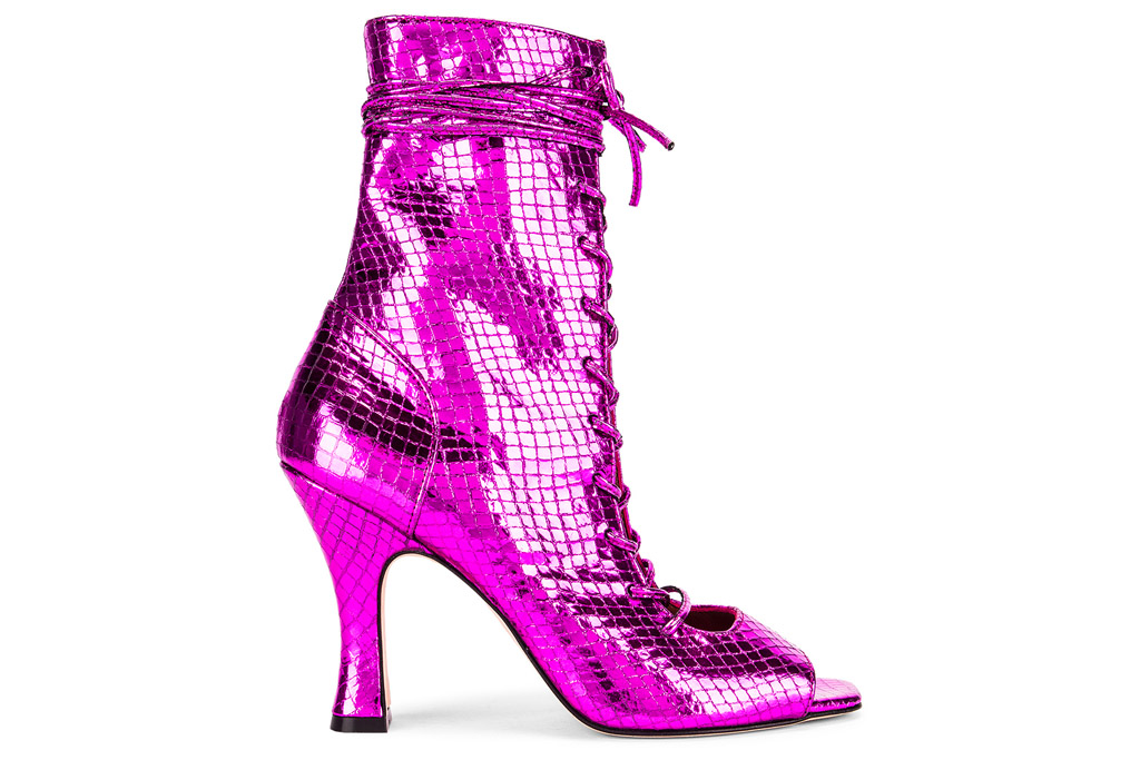 metallic, pink, boots