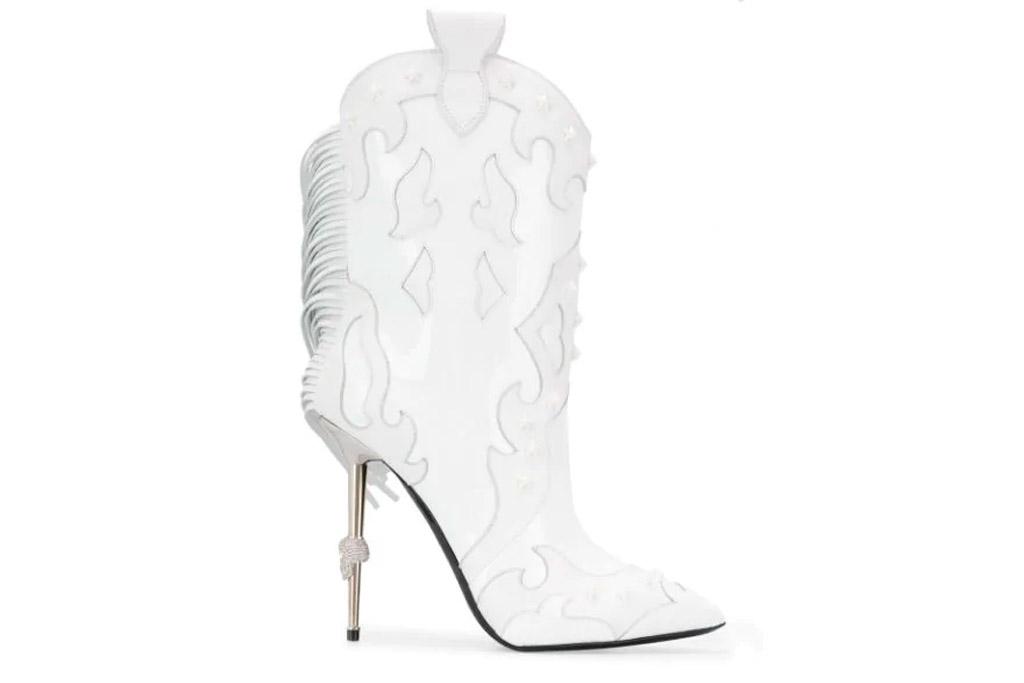 Philipp Plein Paneled cowboy boots, fringe, white