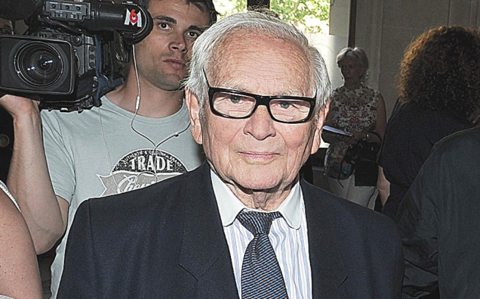 Pierre Cardin, Raf Simons and Jean-Louis Scherrer attend Simons debut collection for Jil Sander's Couture fall 2012 show