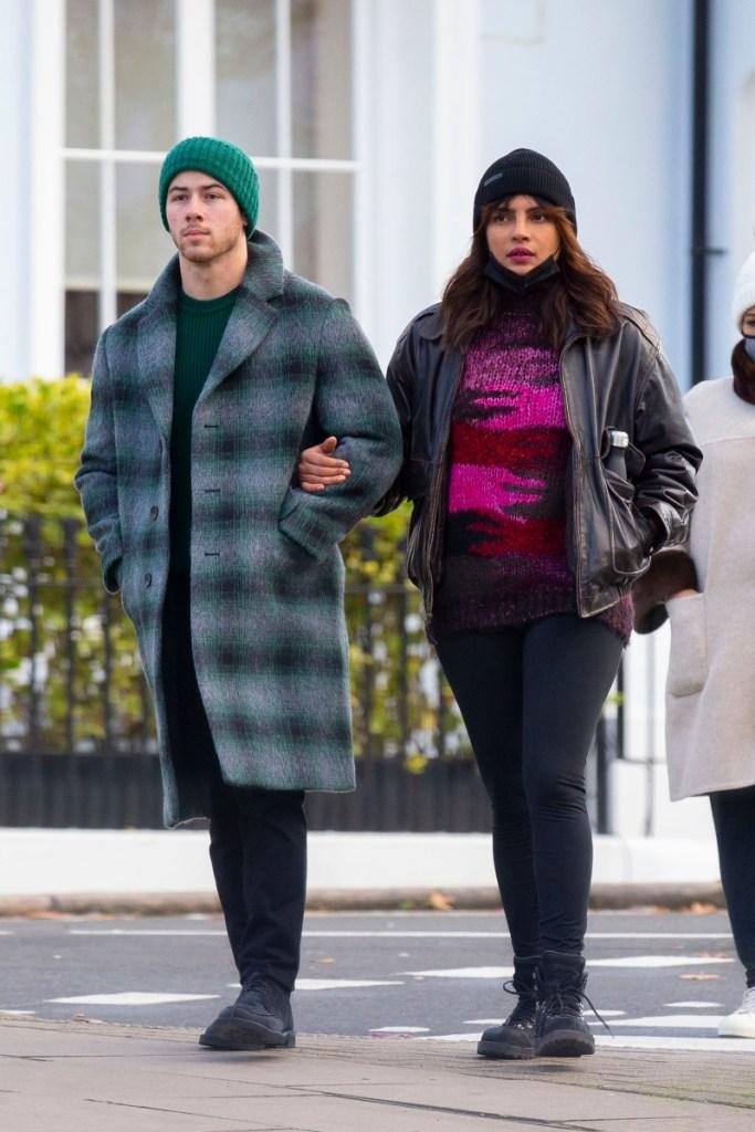 priyanka chopra, priyanka chopra jonas, boots, jeans, jacket, sweater, london, nick jonas