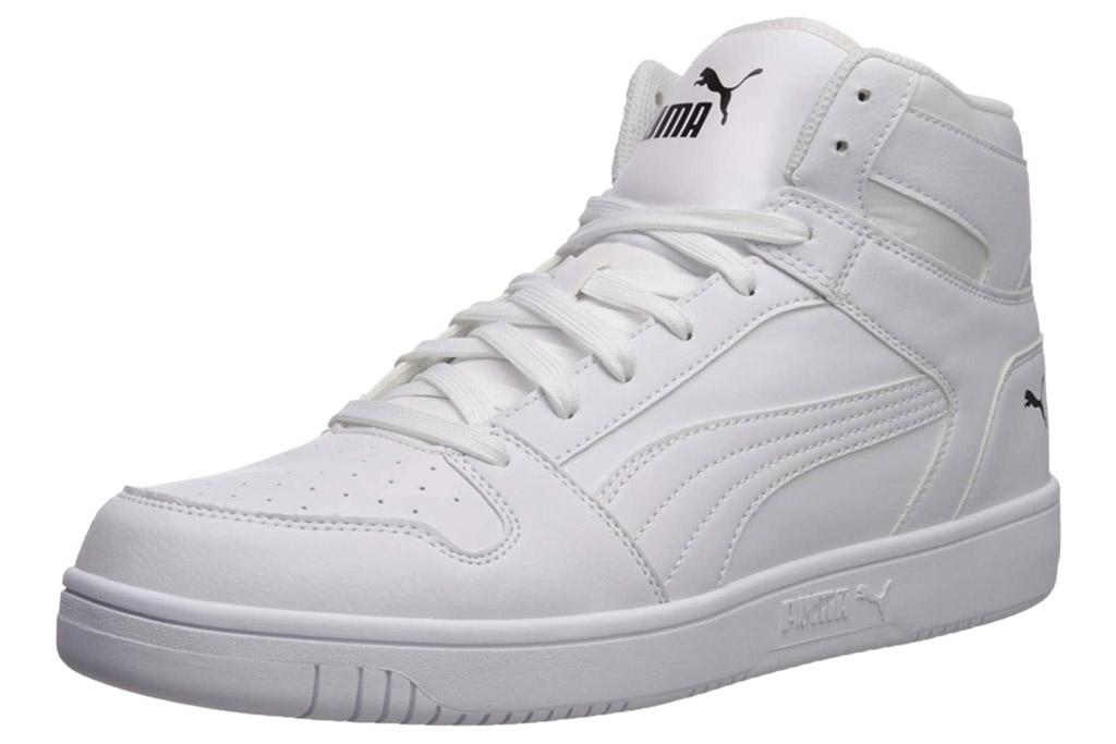 white sneakers, high top, puma