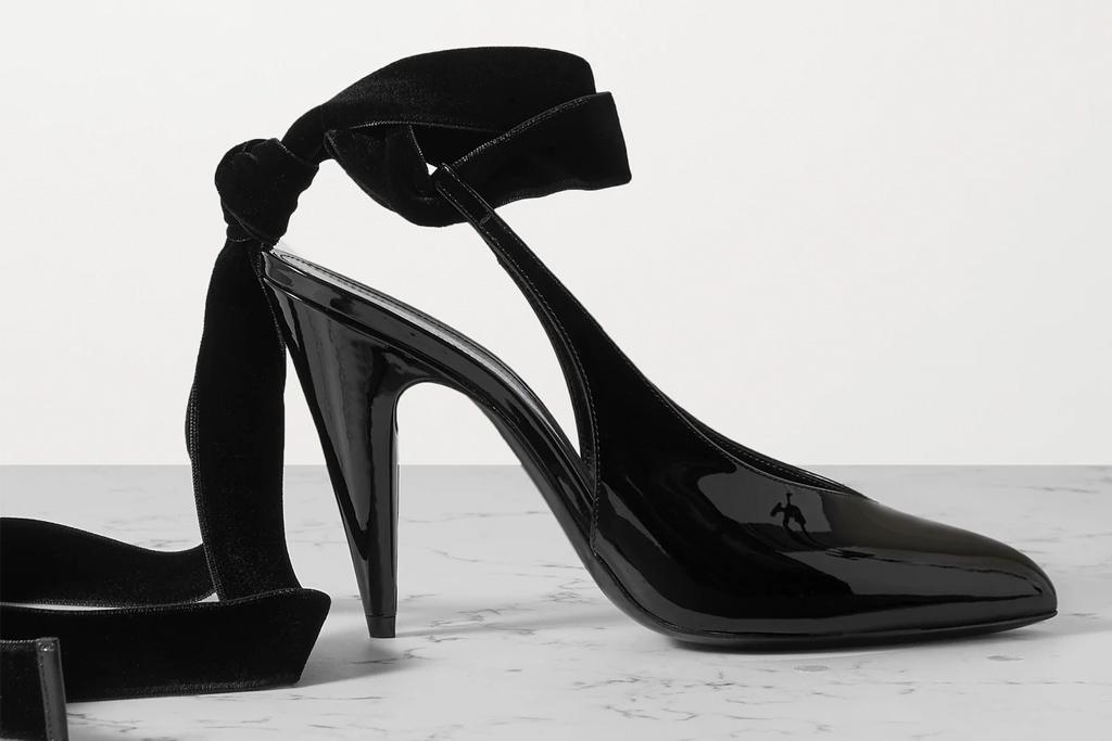 saint laurent, patent heels, velvet trim