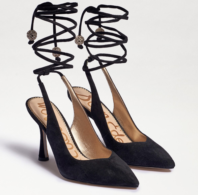heels, ankle wrap, pointed toe, pumps, sam edelman
