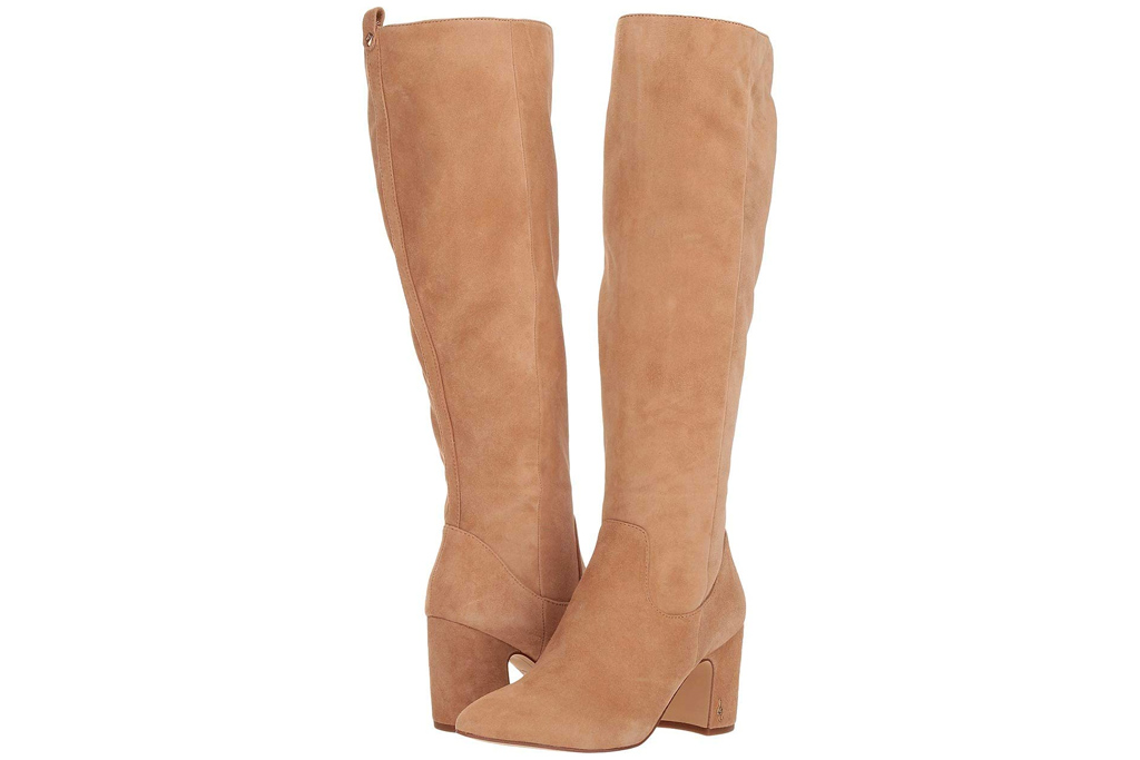 knee high boots, suede, leather, tan, sam edelman
